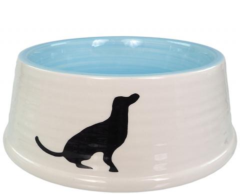 Bļoda suņiem – Dog Fantasy Ceramic Bowl with Dog Motif, White-Blue, 21 cm title=