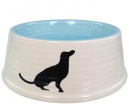 Миска для собак – Dog Fantasy Ceramic Bowl with Dog Motif, White-Blue, 21 см
