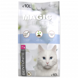 Cementējošās smiltis kaķu tualetei - Magic Litter Bentonite Ultra White, 10 L