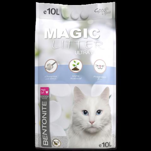 Smiltis kaķu tualetei - Magic Litter Bentonite Ultra White, 10 L