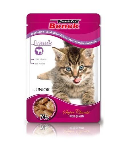 Konservi kaķēniem - Benek Pouches Junior Lamb, 100 g title=