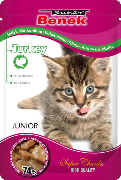 Konservi kaķēniem - Benek Pouches Junior Turkey, 100 g title=
