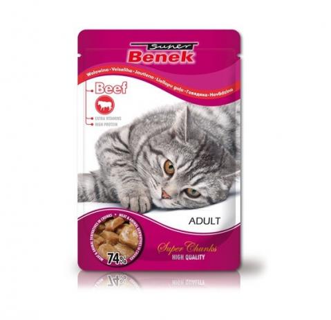 Konservi kaķiem - Benek Pouches Beef, 100 g title=