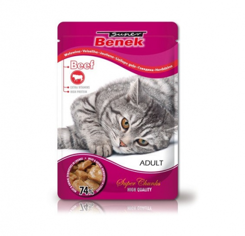 Konservi kaķiem - Benek Pouches Beef, 100 g