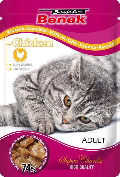Konservi kaķiem - Benek Pouches Chicken, 100 g title=