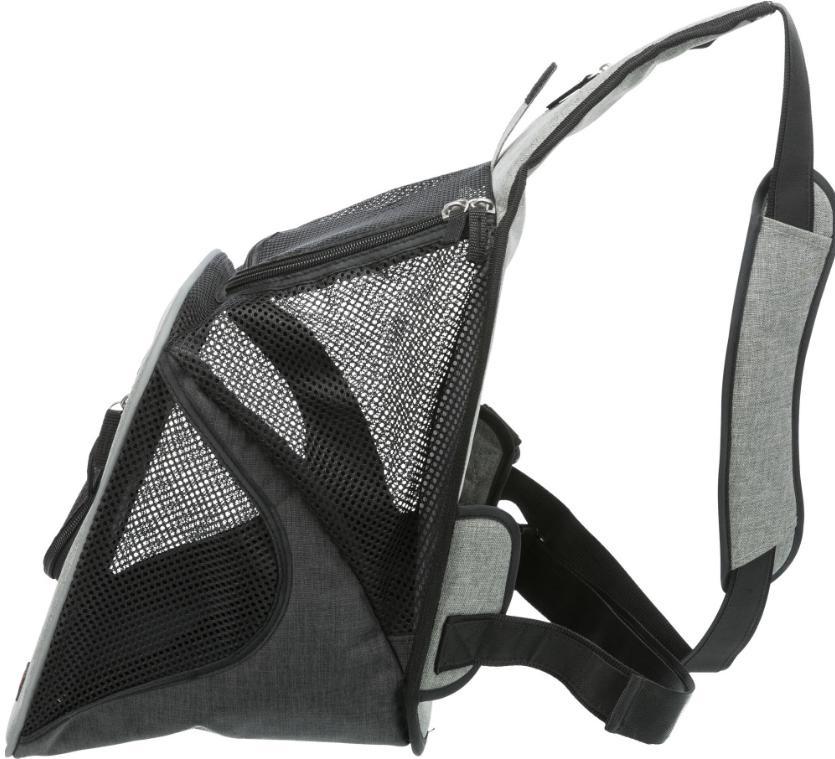 Mugursoma dzīvnieku pārnesāšanai - Trixie Savina Front Carrier, 30 × 33 × 26 cm, black/grey