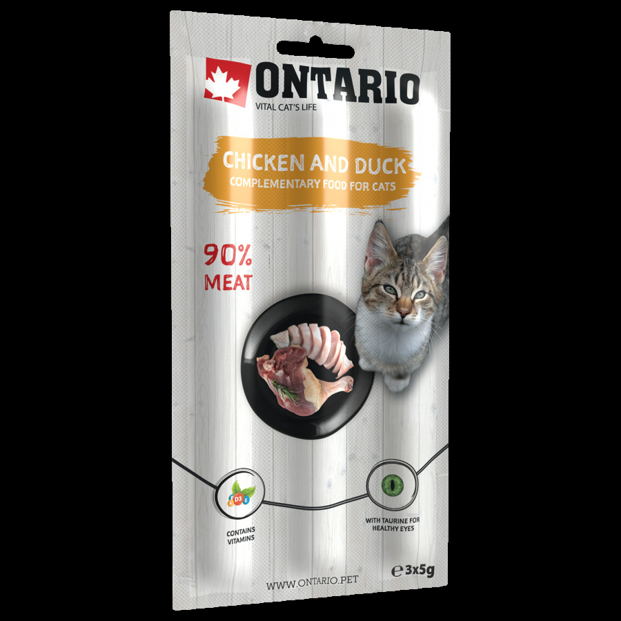 Gardums kaķiem - ONTARIO Stick for cats Chicken & Duck, 15 g