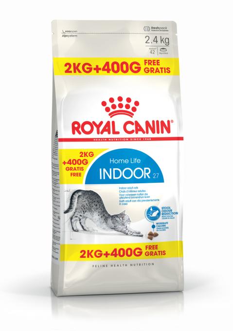 Barība kaķiem - Royal Canin Feline Indoor, 2+0,4 kg title=