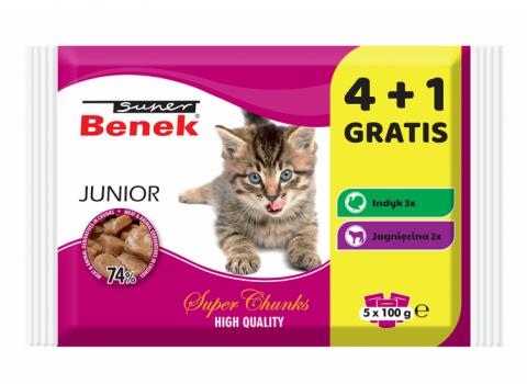 Konservi kaķēniem - Benek Pouches, Junior Mix 4+1, 500 g
