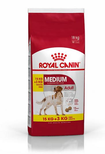 Корм для собак - Royal Canin Medium adult, 15+3 кг