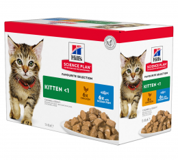 Konservi kaķēniem - Hill's Feline Kitten Multipack Chicken and Ocean Fish, 12 x 85 g
