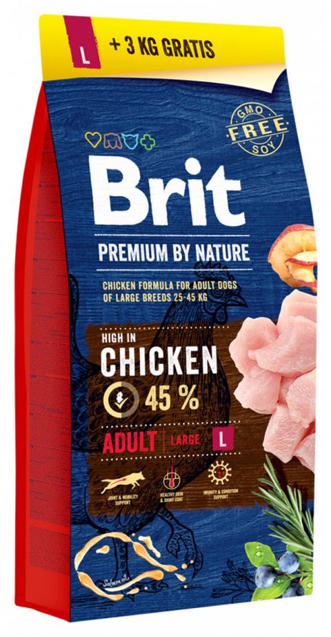 Barība suņiem - BRIT Premium By Nature, Adult L, 15+3 kg