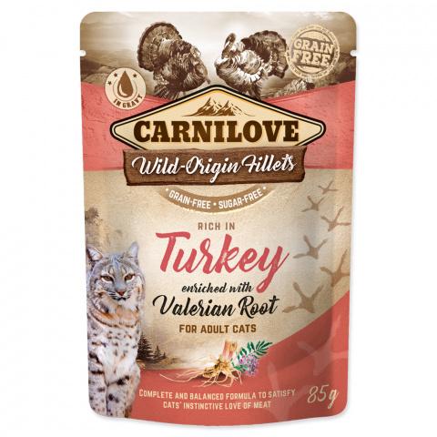 Konservi kaķiem - CARNILOVE Pouch Turkey with Valerian Root, 85 g title=