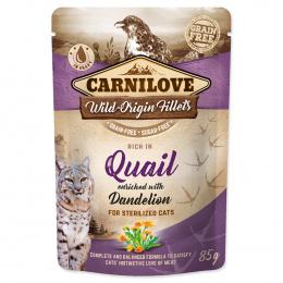 Konservi kaķiem - CARNILOVE Pouch Castrate Quail with Dandelion, 85 g