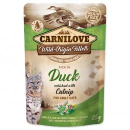 Konservi kaķiem - CARNILOVE Pouch Duck with Catnip, 85 g