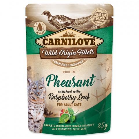 Konservi kaķiem - CARNILOVE Pouch Pheasant with Raspberry Leaf, 85 g title=