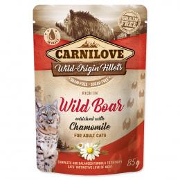 Konservi kaķiem - CARNILOVE Pouch Wild Boar with Chamomile, 85 g