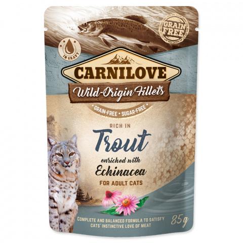 Konservi kaķiem - CARNILOVE Pouch Trout with Echinacea, 85 g title=