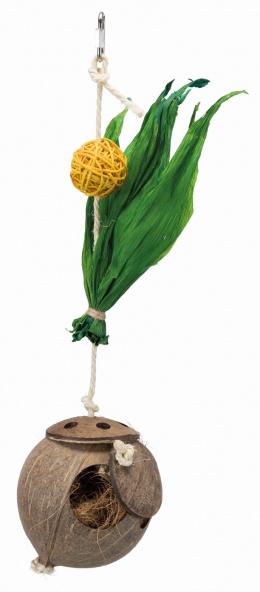 Игрушка для птиц - TRIXIE Coconut on sisal rope, 35 см