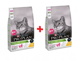 Barība kaķiem - Pro Plan STERILISED Cat Chicken DIGEST, 0.4+0.4 kg