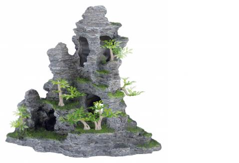 Dekors akvārijem - Rock formation with plants, 31 cm