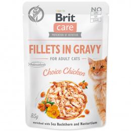 Konservi kaķiem – Brit Care Cat Fillets in Gravy Choice Chicken, 85 g