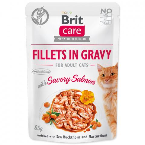 Konservi kaķiem – Brit Care Cat Fillets in Gravy Savory Salmon, 85 g title=