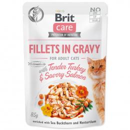 Konservi kaķiem – Brit Care Cat Fillets in Gravy Tender Turkey and Savory Salmon, 85 g