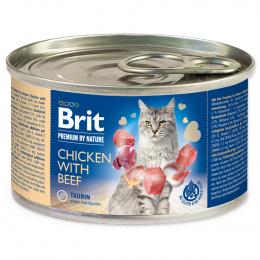 Консервы для кошек - BRIT Premium by Nature Chicken with Beef, 200 г