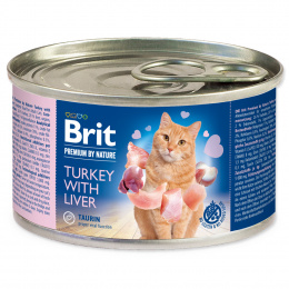 Консервы для кошек - BRIT Premium by Nature Turkey with Liver, 200 г