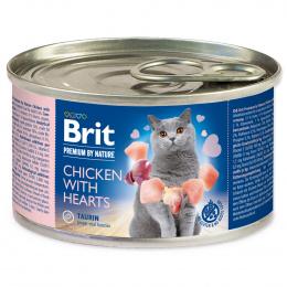 Konservi kaķiem - BRIT Premium by Nature Chicken with Hearts, 200 g