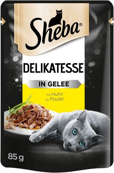 Konservi kaķiem - Sheba Delikatesse Chicken in Jelly, 85 g title=