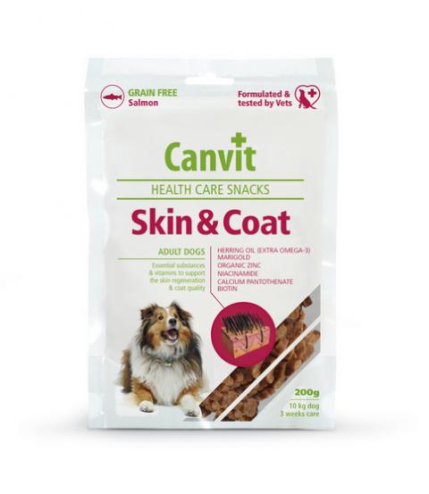 Лакомство для собак - Canvit Health Care Snack Skin and Coat, 200 г title=