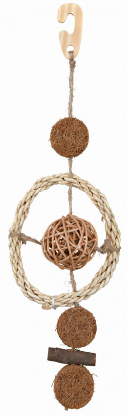 Rotaļlieta putniem - TRIXIE Natural Toy on a Sisal Rope, 35 cm