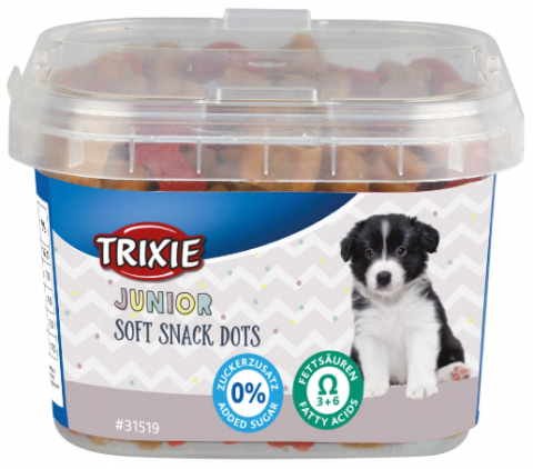 Gardums kucēniem - TRIXIE Junior Soft Snack Dots with Omega 3, 140 g title=
