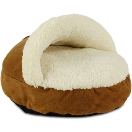 Guļvieta kaķiem - AFP Lambswool Cozy Snuggle Cat Bed, tan