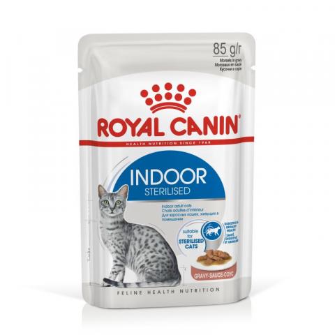 Konservi kaķiem - Royal Canin Feline Indoor Sterelised (in sauce), 85 g title=