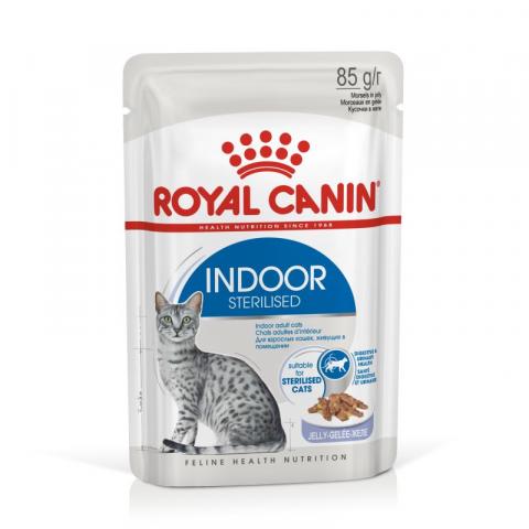 Konservi kaķiem - Royal Canin Feline Indoor Sterelised (in jelly), 85 g title=