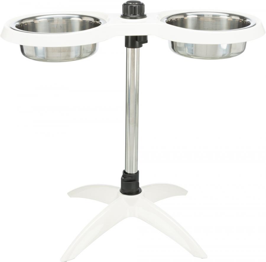 Bļodas ar statīvu - Trixie Dog bar, melamine/stainless steel, 2 x 1,6 l, white