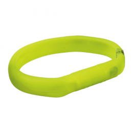 Отражающий ошейник - Flash light band USB, silicone, XS–S: 35 см/18 мм, green