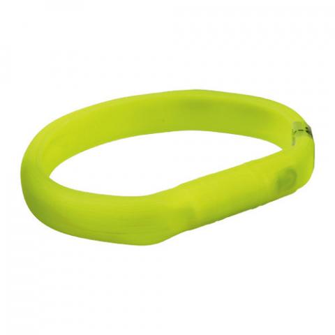 Atstarojošā kakla siksna – TRIXIE Flash light band USB, silicone, L–XL: 70 cm/18 mm, green title=