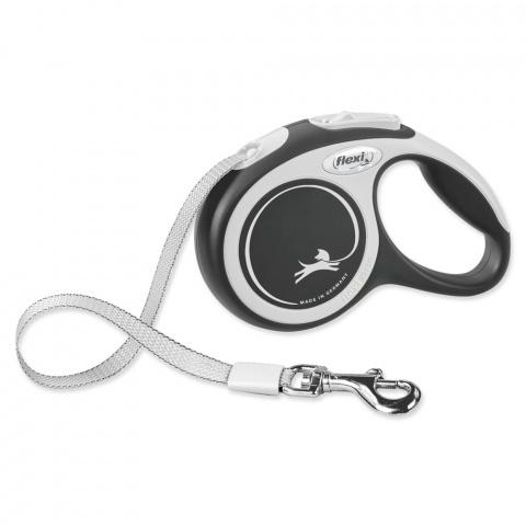 Поводок-рулетка для собак – Flexi New Comfort Tape Leashes XS 3 м, Black title=