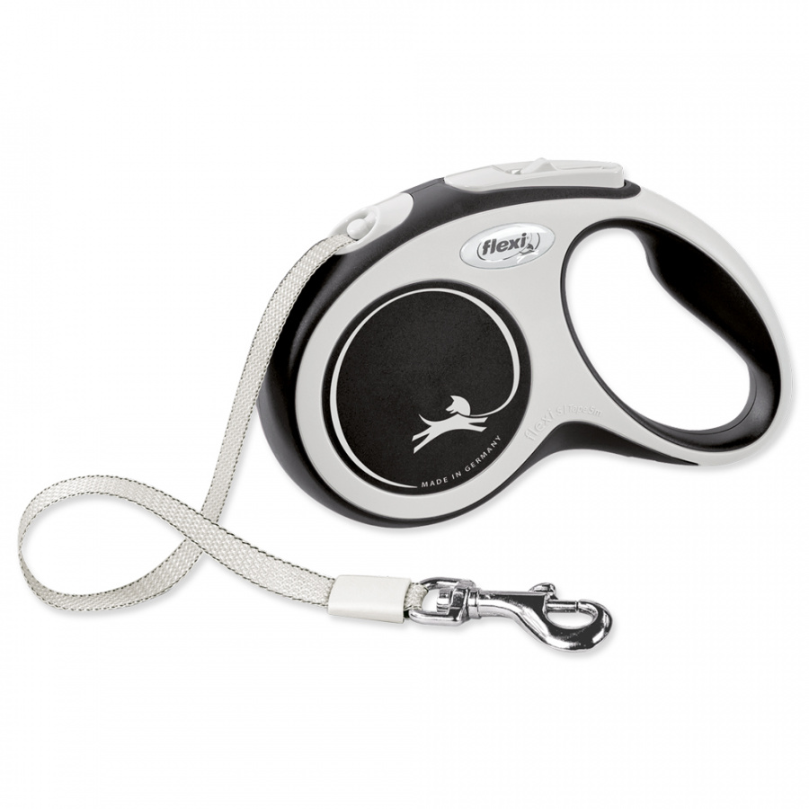 Inerces pavada suņiem – Flexi New Comfort Tape Leashes S 5 m, Black