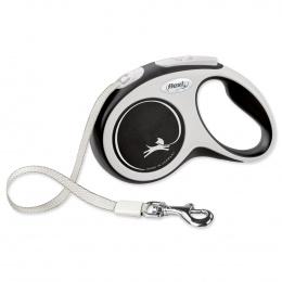 Поводок-рулетка для собак – Flexi New Comfort Tape Leashes S 5 м, Black
