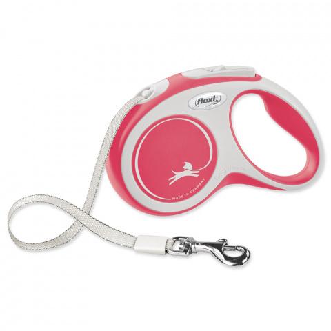 Поводок-рулетка для собак – Flexi New Comfort Tape Leashes S 5 м, Red title=