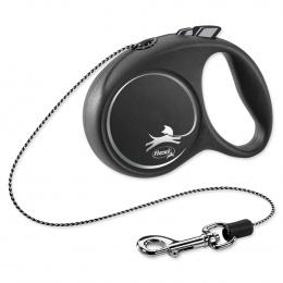 Поводок-рулетка для собак - Flexi Black Design XS Cord 3м, black