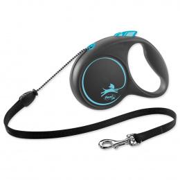 Поводок-рулетка для собак - Flexi Black Design M Cord 5м, blue