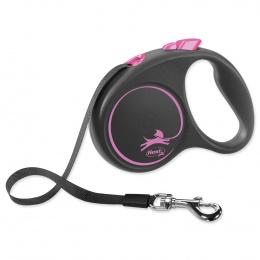Inerces pavada suņiem - Flexi Black Design S Tape 5m, pink