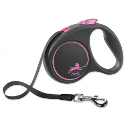 Поводок-рулетка для собак - Flexi Black Design S Tape 5м, pink