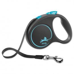 Поводок-рулетка для собак - Flexi Black Design S Tape 5м, blue